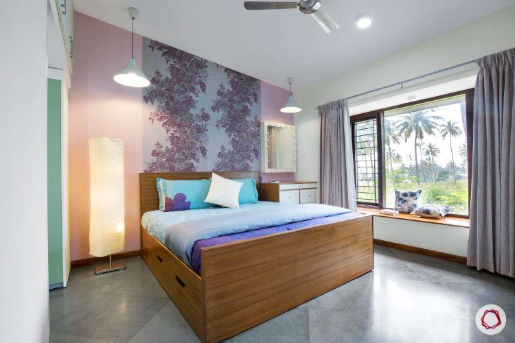 home interiors at Kengeri villa-floral wallpaper-bay seating-floor lamp