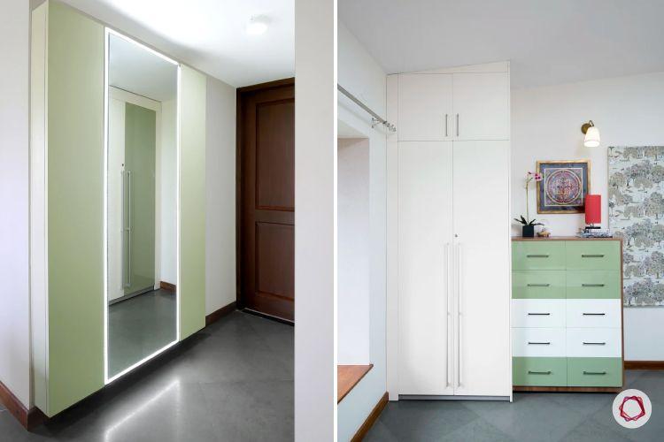 home interiors at kengeri villa -high gloss wardrobe-pista coloured wardrobe