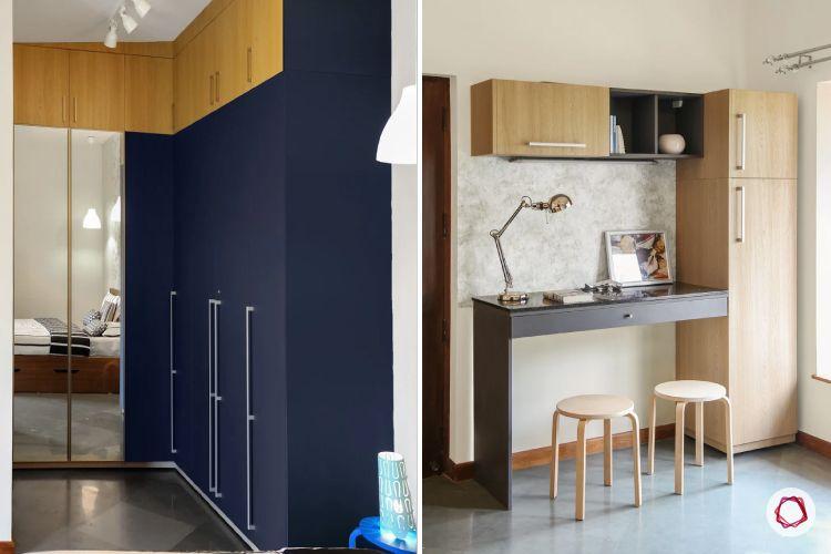 home interiors at kengeri villa-blue wardrobe-compact study