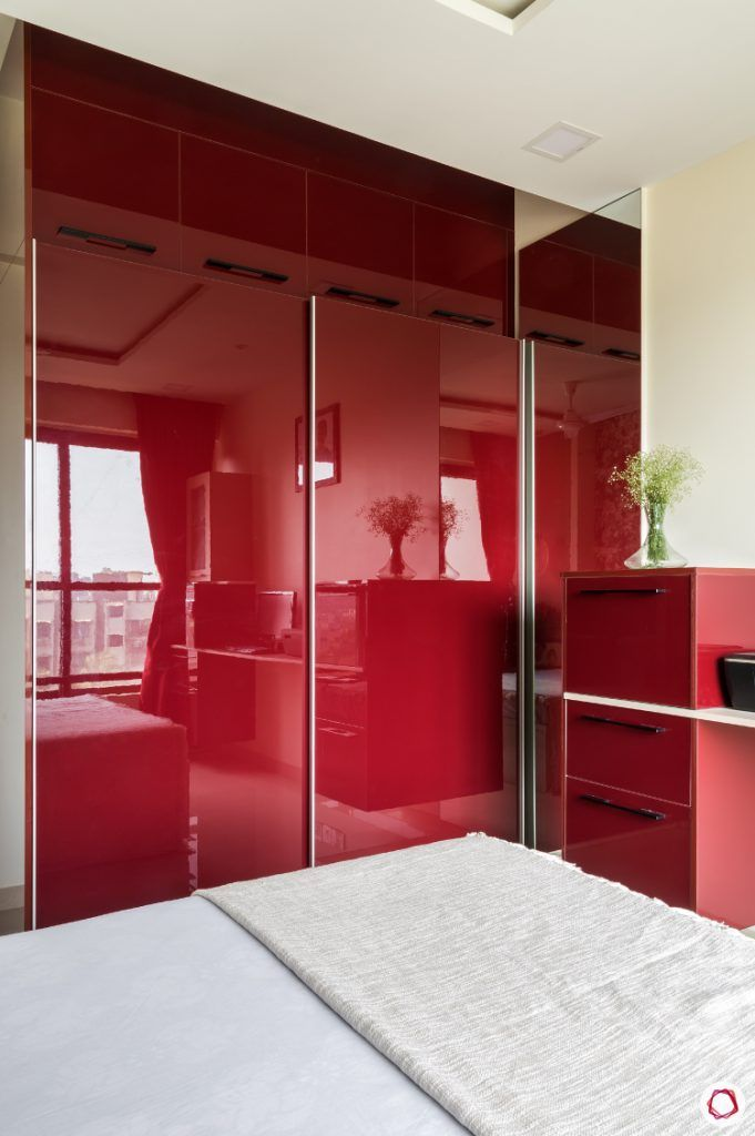 Home Decor Ideas in Red - Glossy Red Wardrobe in Bedroom
