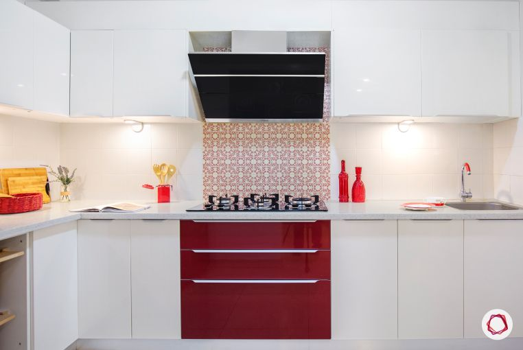 Home Decor Ideas in Red - White n Red Modular Kitchen Design Red Highlights