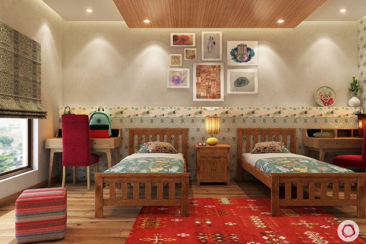 kids' Room design-wood and red