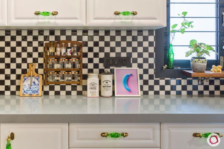 Kitchen Tiles-checkered backsplash tiles-black and white kitchen tiles