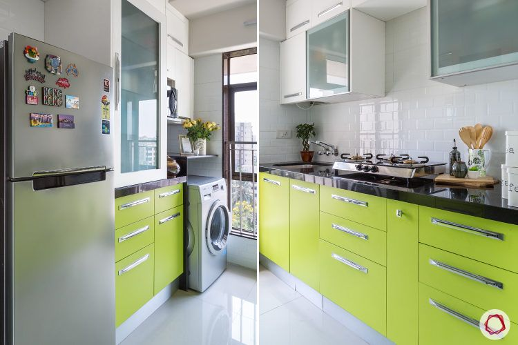 Goregaon home design-green cabinets-handles