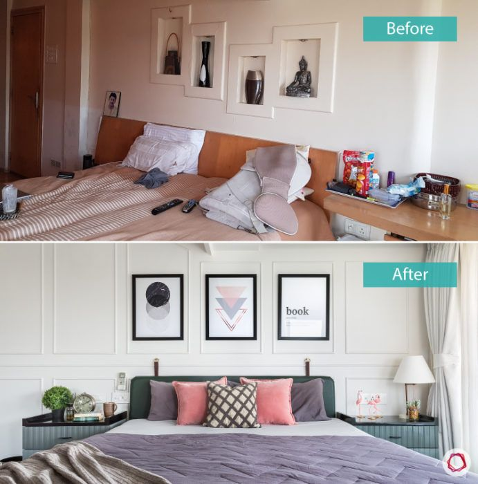 bedroom design-before-after-headboard-side-tables-photo-frames