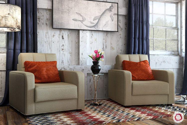 kangana ranaut manali home-wall art-beige sofa-wooden walls