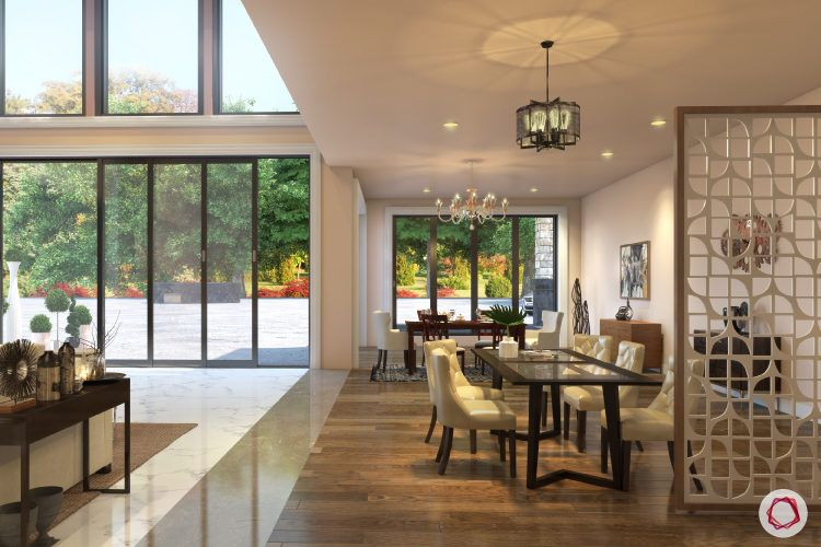 dining space-white jaali-chandelier