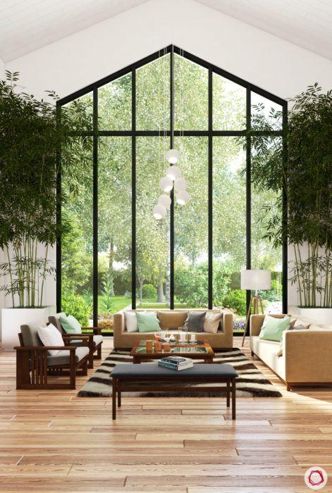wooden flooring-pendant light cluster-high ceiling