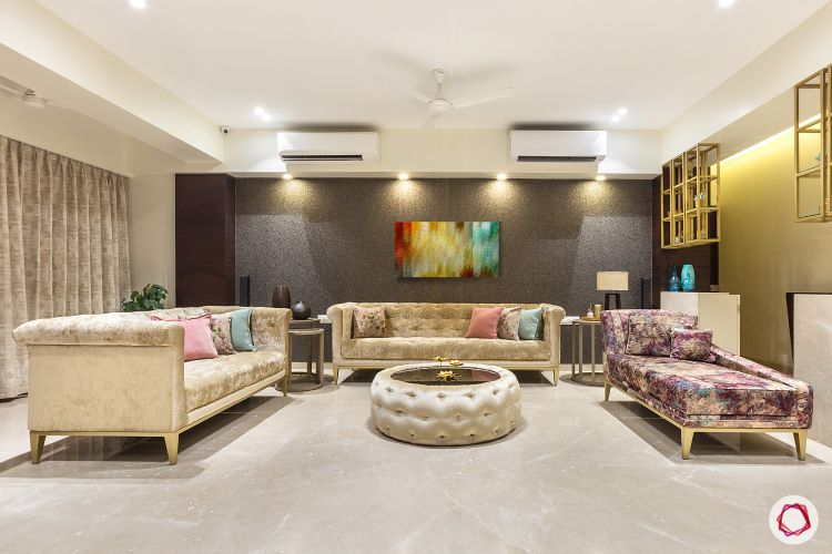 House design-living room-chesterfield sofas-accent wall-display units