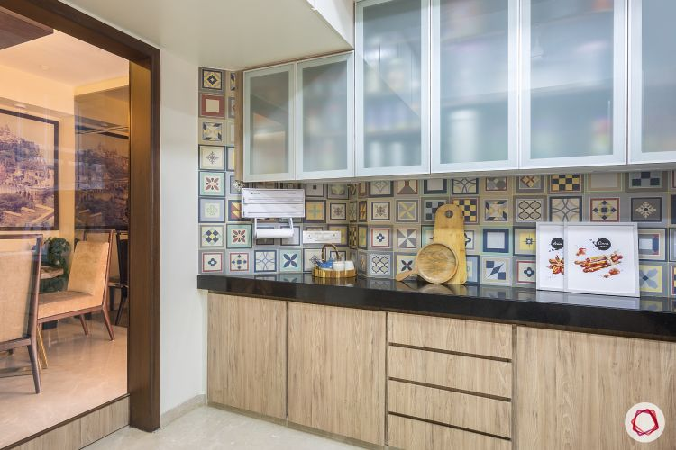 House design-kitchen-wooden base cabinets-frosted glass wall cabinets-moroccan tile backsplash