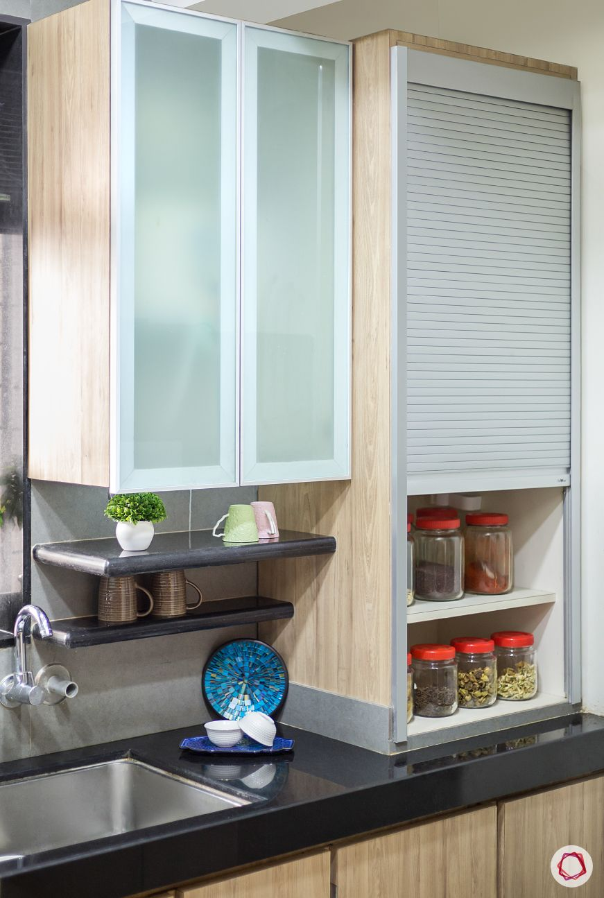 House design-frosted glass wall cabinets-roller shutter unit