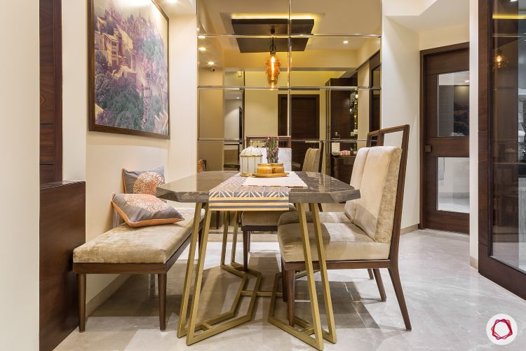House design-dining room-lighting-marble top table-mirror finish accent wall