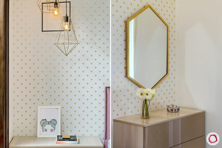 best interior design-drop lights-hexagonal mirror-gold polka dotted wallpaper