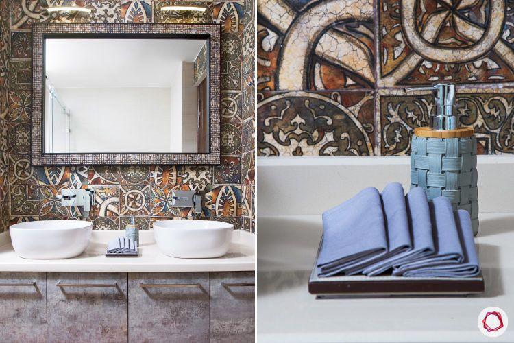 best interior design-bathroom-celtic tiles-rustic cabinets