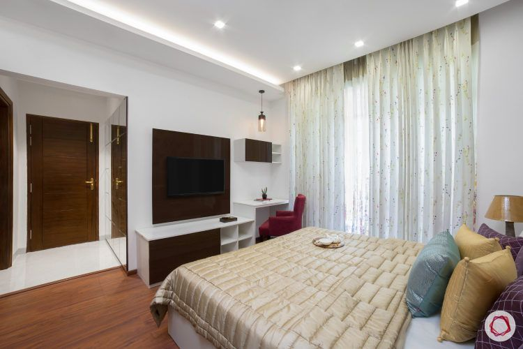 best interior design-lacquered glass finish wardrobe-TV unit