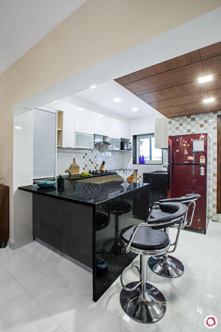 House interior-modular kitchen-breakfast nook-fridge