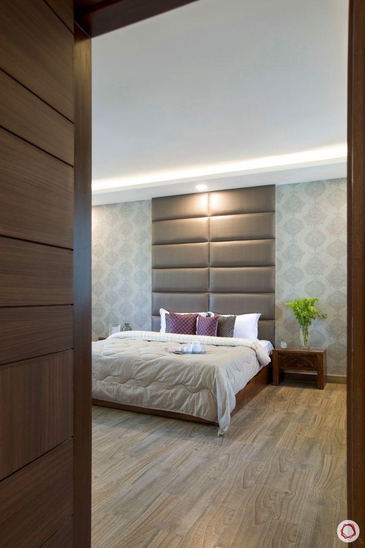 House interior-master bedroom-headboard-wallpaper-side table