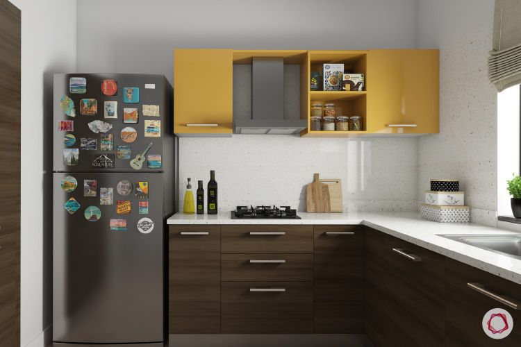 Room decor for travel_fridge magnets_kitchen_yellow cabinets_wooden base units