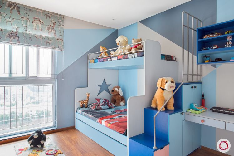 blinds-kids-room-animal-motif-study-toys-stairs-bed-display