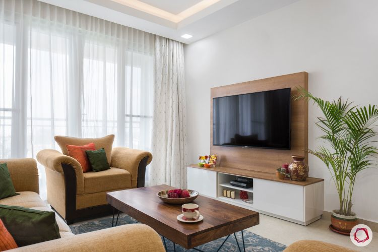 blinds-living-room-sheer-curtains-wooden-TV-panel-coffee-table-rug