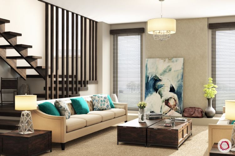 blinds-strip-blinds-living-room-cream-sofa-stairs-rafters-coffee-table