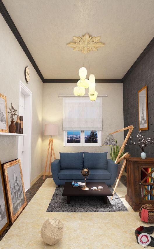 blinds-white-living-room-blue-sofa-photo-frames-lamp-bookshelf