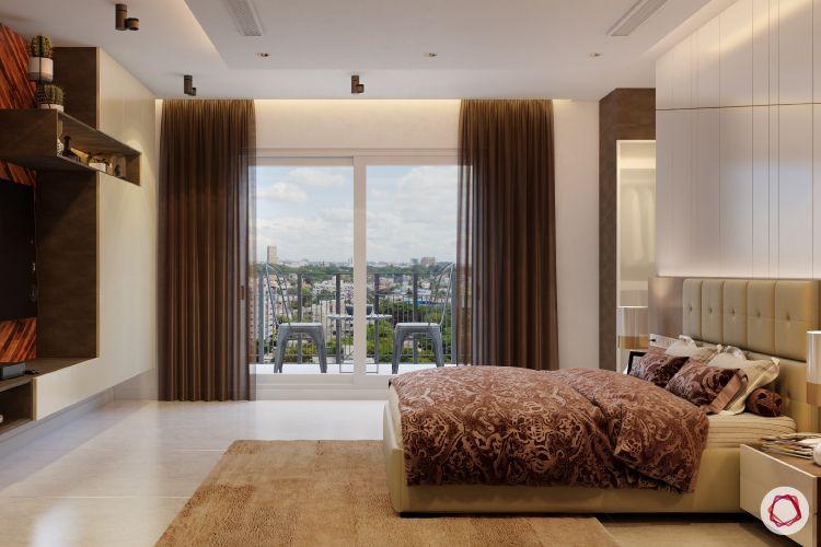 blinds-bedroom-dark-translucent-brown-rug-display-shelf-balcony