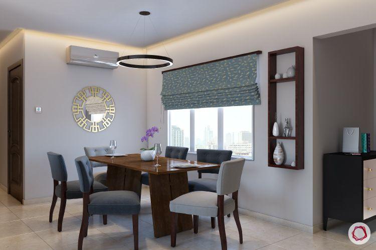 blinds-dining-room-folding-blinds-blue-shelf-false-ceiling