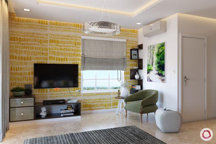 blinds-bedroom-sober-blinds-TV-chair-side-table-rug-wardrobe