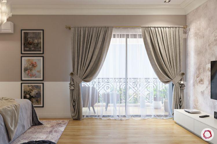 blinds-bedroom-layered-sheer-wooden-flooring-balcony-bed-TV