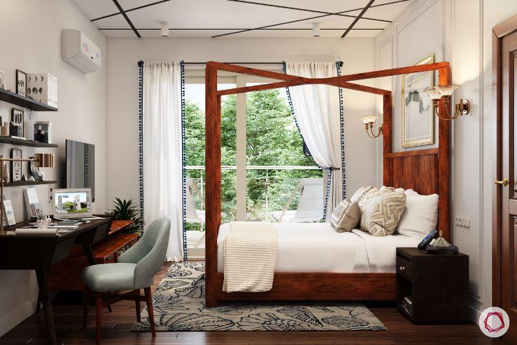 bedroom-blinds-tassels-white-wooden-bed-flooring-rug-study-table