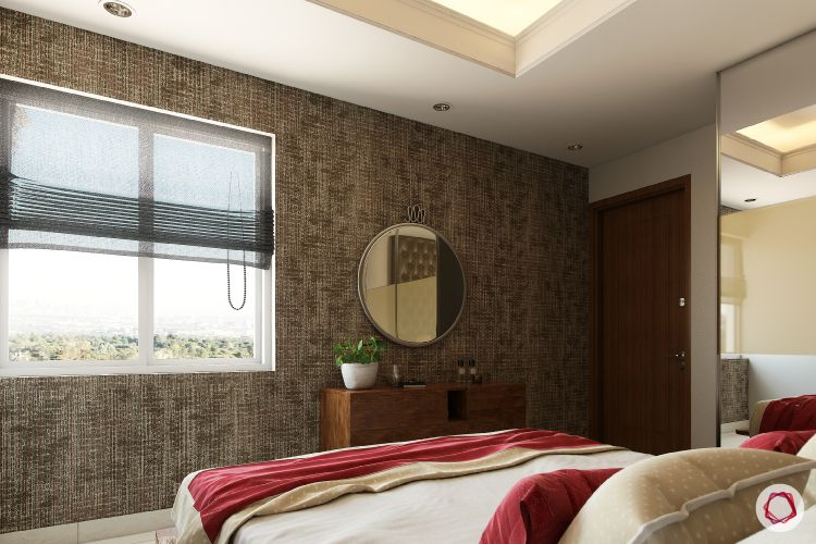 blinds-sheer-textured-wall-round-mirror-bed