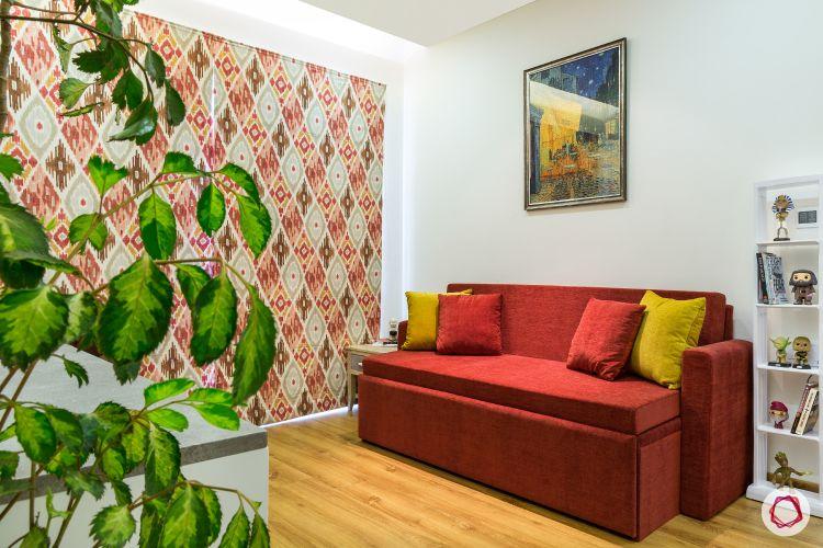 flat design-red sofa designs