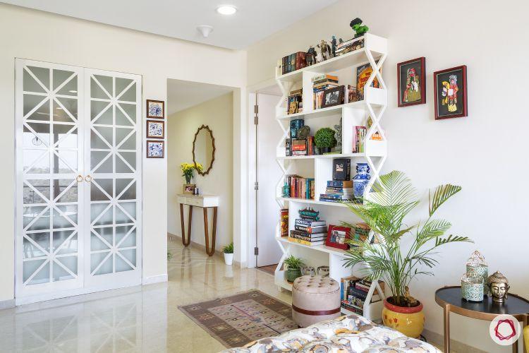 flat design-white interiors design-bookshelf designs