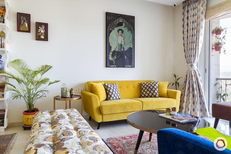 yellow sofa-pattern bench