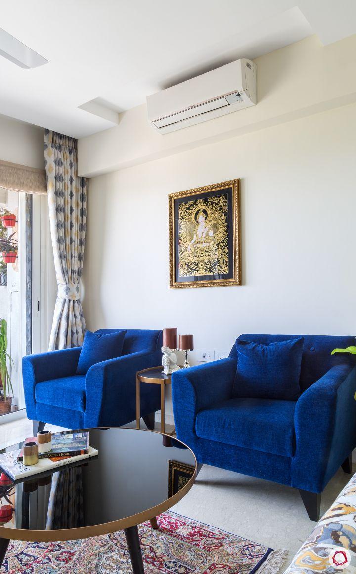 flat design-blue sofa designs-coffee table