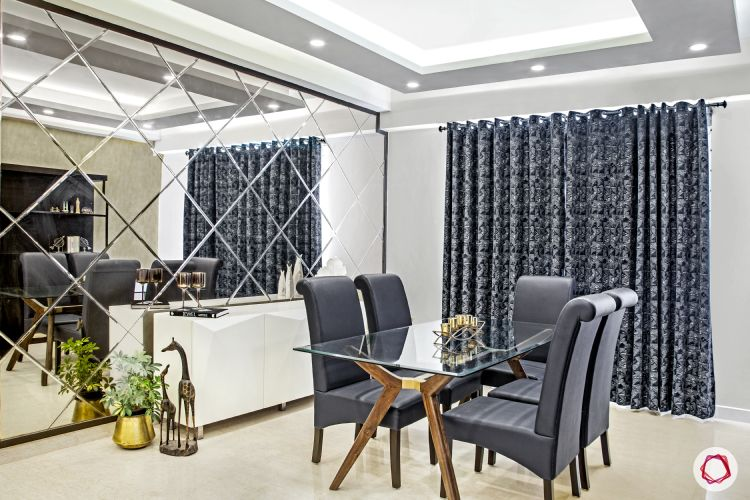 parineeti chopra-mirror-wall-curtain-dining-table-chairs-plant