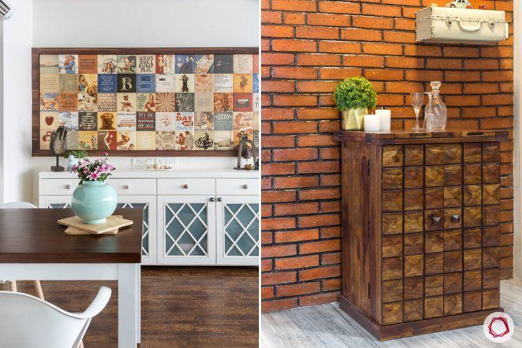 parineeti chopra-art-wall-brick-cabinet-wood-table