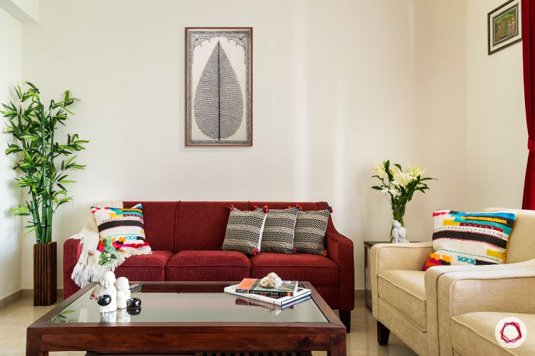 living room-white sofas-red sofas