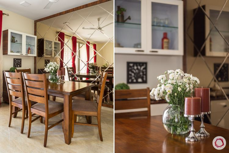dining room-mirror wall-wooden furniture-wall cabinets