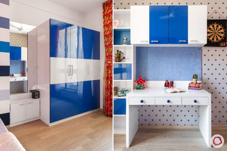 hiranandani-son bedroom-blue wardrobe-blue study unit