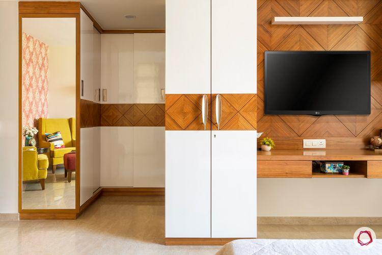 hiranandani-white and wood-wardrobe-tv unit