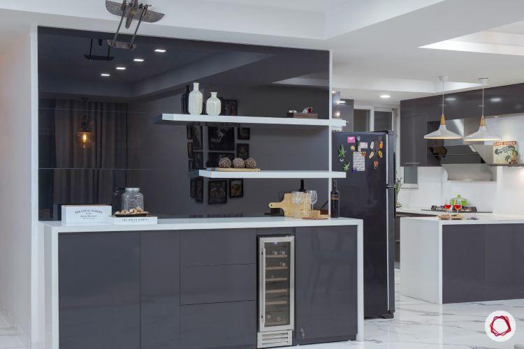 New house design-bar unit-display shelves-mirrored back panel