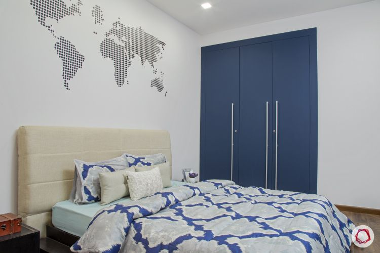 New house design-scandinavian bedroom-headboard-world map-wardrobe