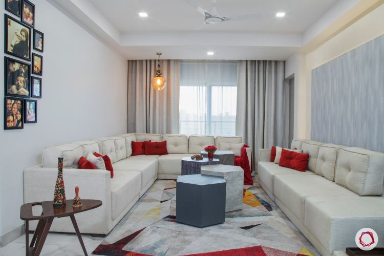 New house design-contemporary living room-hexagonal coffee tables-white sofas-pendant light