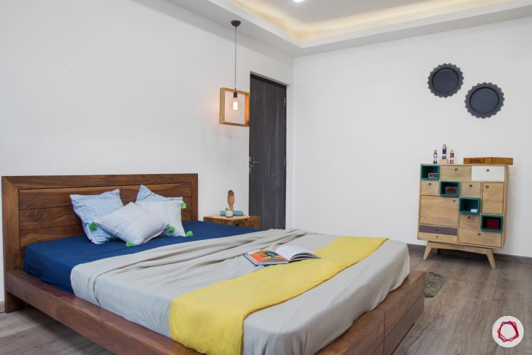 New house design-blue and yellow bedroom-edison bulb-side table