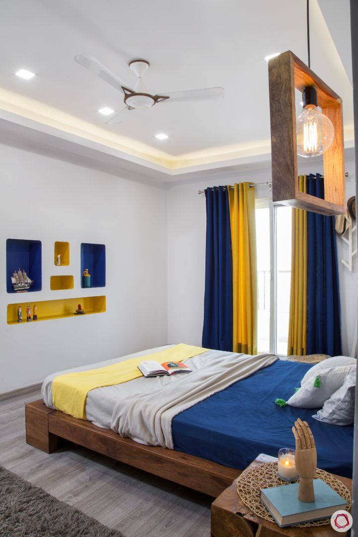 New house design-blue and yellow bedroom-edison bulb-side table-wall niches