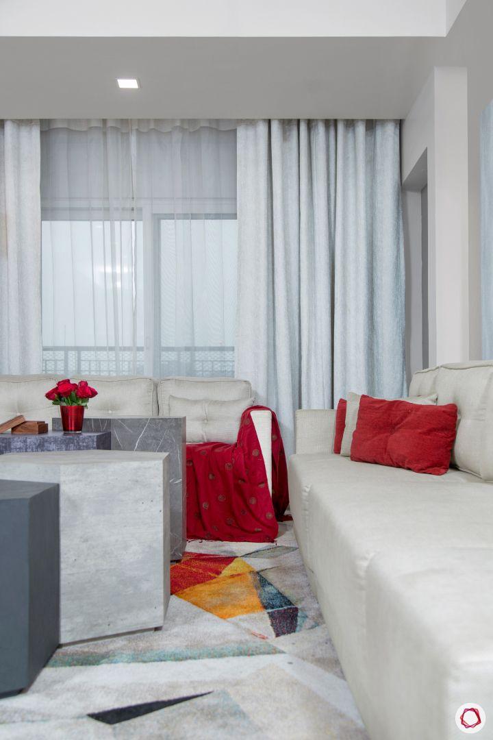 New house design-living room-hexagonal coffee table-contemporary room