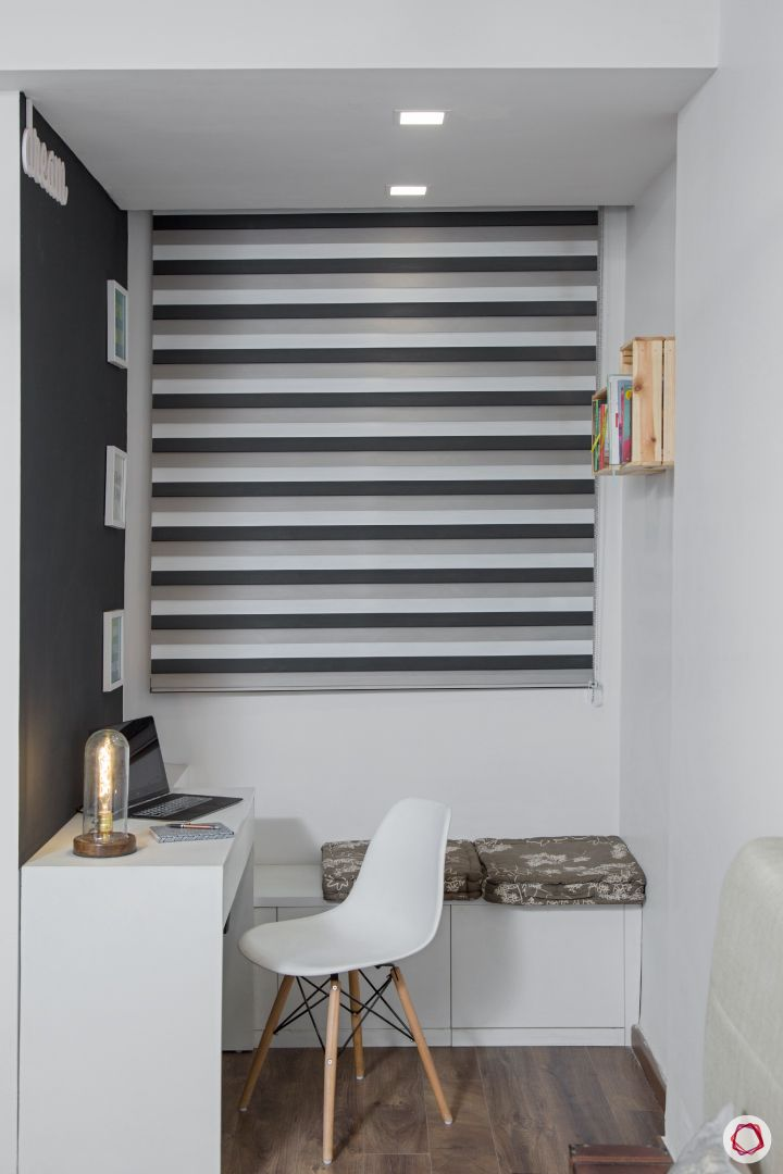 New house design-study space-grey and white-white bench