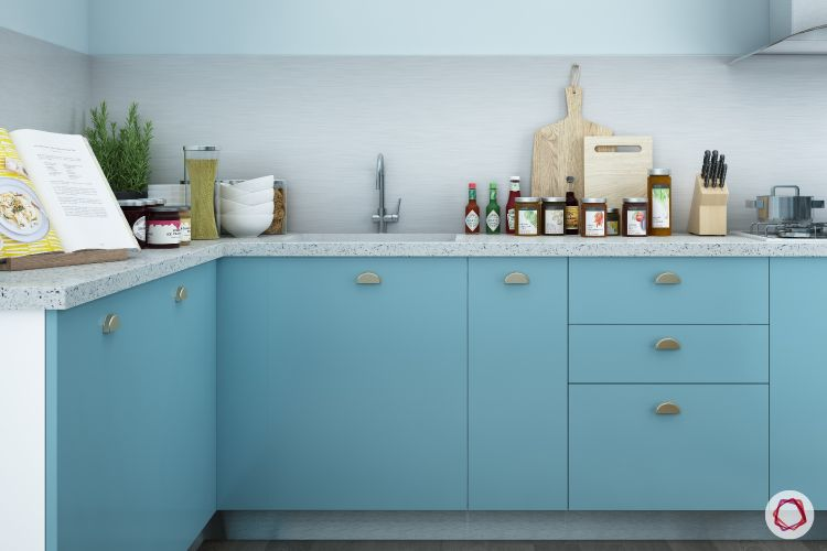 Alia Bhatt-Kitchen-baby blue pastel kitchen-granite countertop-blue cabinets
